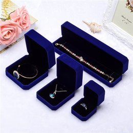 Necklace Display Cases Australia - Blue square Velvet Jewelry boxes Packaging For Pendant Necklace Rings bracelet Bangle Wedding Engagement Gift Display Case