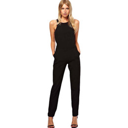women evening jumpsuit Canada - wholesale Women Sleeveless Bodycon Evening Party Jumpsuits Trousers Playsuit Comfortable Jumpsuits M300111
