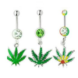 $enCountryForm.capitalKeyWord Australia - Maple Leaf Cute Zircon Crystal Body Jewelry Stainless Steel Rhinestone Navel & Bell Button Piercing Rings for Women Gift Green Color