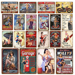 sexy metal vintage signs Australia - Vintage Home Decor Garage Metal Signs Pin Up Girl Poster Car Motorcycle Plane Aircraft With Sexy Lady Wall Plaque Size 30*20cm ABOX