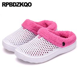 white mule slippers NZ - plus size winter mules women korean slides ladies slipper big slip on white clogs shoes bedroom house indoor fur home large 2018