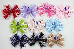 "$enCountryForm.capitalKeyWord Australia - 100pc lot Boutique 3.2"" Handmade Ribbon Hair Bows,dot Polka Hair Bows Without Clip For Girls Headband Hair Accessories"