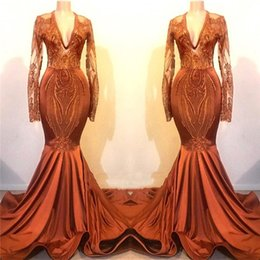 Sheer black dreSS online shopping - Orange Deep V Neck Satin Mermaid Prom Dresses Sheer Long Sleeves Lace Applique Sweep Train Formal Party Evening Gowns BC1115