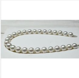 "black south sea pearl necklaces 2019 - 18""7-8mm natural south sea genuine white round pearl necklace 14k cheap black south sea pearl necklaces"
