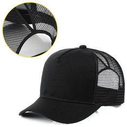 Hip Hop Caps Female Summer Hats Mesh Outdoor Hat Bone Cap Women Messy Bun  Snapback Glitter Ponytail Baseball 5b8a88ea92e4