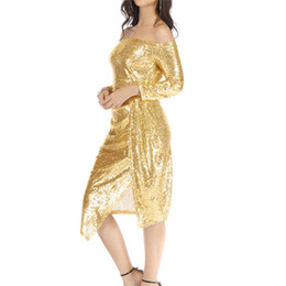 $enCountryForm.capitalKeyWord UK - Party Dress Women Elegant Gold Sequin Off Shoulder Bodycon Dress Long Sleeve Bandage Ladies Dresses Women Clothe 2019 robe femme
