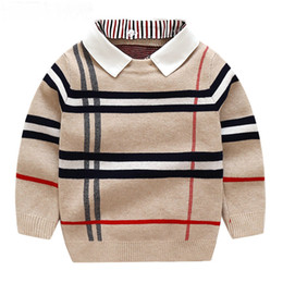 Autumn Warm Wool Boys Sweater Plaid Children Knitwear Boys Cotton Pullover Sweater 2-7y Kids Fashion Outerwear on Sale