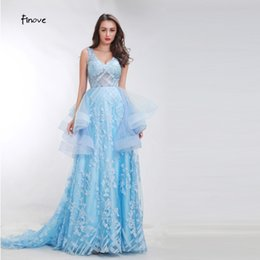 $enCountryForm.capitalKeyWord Australia - Finove Baby-Blue Floral Print Prom Dresses 2019 New Styles Sweep Train Romantic Sexy Backless Dresses Evening Gowns for Women12044A