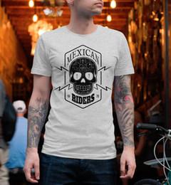 skull t shirts men 2019 - T Shirt Men Short Sleeve Funny Mexican Skull Screen Print BIKEr Chopper Motorbike Motorcycle Riders Club Men Summer Styl