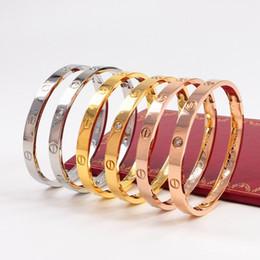 Venta al por mayor de 2019 hombres y mujeres NUEVA HOT Clásicos ama diseñadorCartier amor de Rose de la joyería de oro 316L ama inoxidable pulsera del brazalete ninguna caja