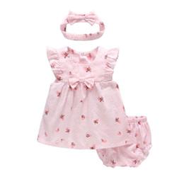 $enCountryForm.capitalKeyWord Australia - Vlinder Baby Girl Dress Baby Girl Clothes Pure Cotton Fruit Painting Dress Set Newborn Short Sleeves Infant Dresses 3pcs Set Y19061101