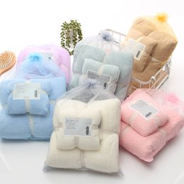 $enCountryForm.capitalKeyWord Australia - twinset coral fleece velvet high-density lace plain letter 2 piece-set towel absorbent soft bath towel 70*140cm+face hand hair towel 35*75cm