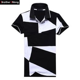 $enCountryForm.capitalKeyWord Australia - Designer Polo Shirt Male Summer Fashion New Men 'S Black and White Stitching Cotton Short Polo -Sleeved Polo Shirt Slim Men 5xl 6xl
