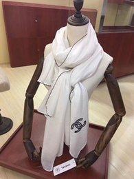 $enCountryForm.capitalKeyWord NZ - High quality brand wool scarf Fashion Silk Pashmina black and white exquisite embroidery Shawl soft warm Silk Pashmina men women