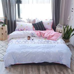 $enCountryForm.capitalKeyWord Australia - Washed Cotton Cartoon Bedclothes Baby Kids Dog Flamingo Duvet Cover Bedding Set Girls Boys Adult Twin Full Queen King Bed Linen