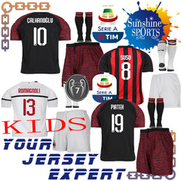 AC Milan THIRD kids kit black Away white 18 19 soccer Jerseys 19 PIATEK  SUSO CALHANOGLU ROMAGNOLI boy set 2018 2019 child shiirts 7 cups 2701c5935