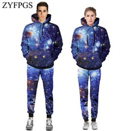 Discount space suits - ZYFPGS 2019 Spring Hot Men's Suit outer space Casual Fashion Pattern printing Fantasy Sky Suit Harajuku Sales XXL H