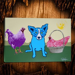 Painting Basket NZ - Blue Dogs Chicken In A Basket,1 Pieces Canvas Prints Wall Art Oil Painting Home Decor (Unframed Framed) 24X36.
