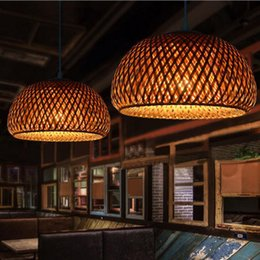 modern chinese lanterns Canada - Rattan chandelier bird's nest bird's nest bamboo woven lampshade Chinese antique palace lantern tea house hotel led hallway aisle lamp