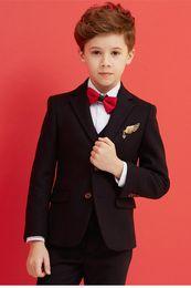 Handsome Kids Suits Australia - Handsome Two Buttons Notch Lapel Kid Complete Designer Handsome Boy Wedding Suit Boys' Attire Custom-made (Jacket+Pants+Tie+Vest) A19