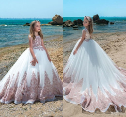 Floor length pageant dresses online shopping - Newest Pink Arabic Style Flower Girl Dresses Pageant Dresses With Sash Lace Appliqued Formal Girl Dresses For Wedding BC0017