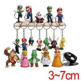 super resin UK - HYS65 18Pcs lot Super Mario Game Anime Key Ring Super Mario Cartoon Car Keychain Set Keyring Cute Silicone Chain Bag Pendant keyring Set DHL