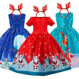 pattern for girls princess dress Australia - New Year Christmas Dress For Girls Santa Clus Costume Kids Dresses For Girls Princess Dress Evening Party Dress 3 6 7 8 10 Years