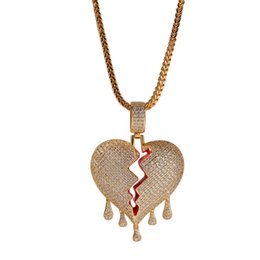 Wholesale Unisex Broken Heart Pendant Necklaces Full Rhinestone Shining Boys Rock Rapper Necklace Tennis Chain Mens Hip Hop Jewelry for Gift Sale