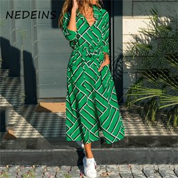 Discount elegant striped dresses for women NEDEINS 2020 Summer Boho Beach Maxi Dress For Women Leisure Long Dress Fashion Elegant Split Dress Clothes For Women Y20