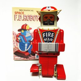 Fireman Figure Australia - Adult Collection Retro Wind up toy Metal Tin The fireman robot Mechanical toy Clockwork toy figures model kids christmas gift