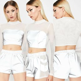 hot women see through shirt 2019 - New Style Women T-Shirt Reflective Long Sleeve Casual Top T-Shirt Mesh Tee Tops Gift See Through Summer Skinny Fashion H