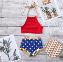 $enCountryForm.capitalKeyWord Australia - Kids american flag swimsuit Summer lace-up Bows tops+ Star Swim Trunks girls Swimwear Children Independence Day Beach bathing suit Y2262