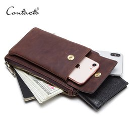 bags for cell phones christmas NZ - CONTACT'S genuine leather men shoulder bag for cell phone with card holders male vintage crossbody bag men's small waist packs