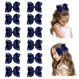 "$enCountryForm.capitalKeyWord Australia - 14 PCS 6"" Big Hand-made Grosgrain Ribbon Hair Bow Alligator Clips Hair Accessories for Little Teen Toddler Girls"