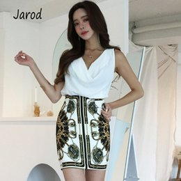 eb70b0fa635 Korean 2019 Women 2 Piece Set summer White Chiffon Sexy V Neck Shirt Tops + printing  Mini Pencil Skirt Suits