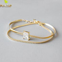 Fashion Trend Bracelet Australia - Flyleaf Gold Double Chain 4a Zircon Charm Bracelets For Women 2018 New Trend 100% 925 Sterling Silver Lady Fashion Jewelry Y19051101