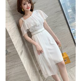 dresses states UK - Europe and the United States sexy off shoulder diamond sling Ruffle waist irregular dress women's new fashion in summer 2020