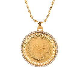 China Gold and Crystal Pendant and Necklaces for Women Middle East Islam Muslims New Jewelry Arab Gifts Middle East Jewelry cheap arab jewelry suppliers