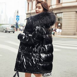 $enCountryForm.capitalKeyWord Australia - Real Natural Fur 2019 Patent Leather Winter Jacket Women Thicken Long Down Parka Hooded Female Duck Down Coat Waterproof Jacket Y190918
