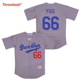 55b4d8b3b Cheap Orange Baseball Jerseys NZ - Throwback Baseball Jersey Men's Movie  Brooklyn Jersey Puig Jerseys Shirt