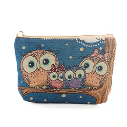 Hot Pink Makeup UK - hot OWL cosmetic bag Multi-fuction canvas handbag Makeup Bag toiletry bags Storage embroidery threads 9 styles