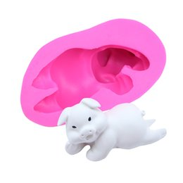 silicone cakes decoration UK - 3D Stereo Pig Silicone Mold Fondant Chocolate Cake Decoration Mold Aromatherapy Plaster Mold