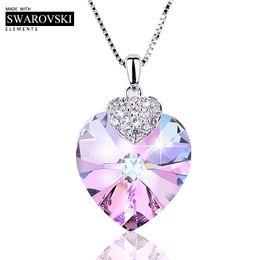 $enCountryForm.capitalKeyWord Australia - Swarovski Necklace For Women Heart Shape Amethyst Crystal Pendant Necklace Fine Jewelry Choker Necklace Gift For Lady Collares Y19061203