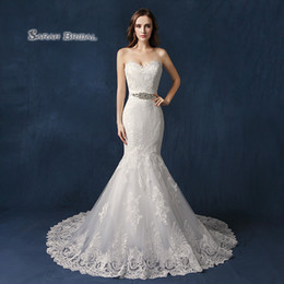 Hot sexy brides online shopping - Vintage White Mermaid Wedding Dresses Sweetheart neck Lace Designer Hot Recommend Country Bridal Gown Bride Dress SW088