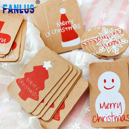$enCountryForm.capitalKeyWord UK - 100pcs lot Happy Merry Christmas Kraft Paper Tag Ornaments Decorations for Home Party Faovrs Xmas Trees Decoration Stocking Deco