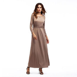 $enCountryForm.capitalKeyWord Australia - Women's Maxi Dress Autumn Long Sleeve O Neck Boho Beach Party Solid Casual Khiaki Gray Black Green Long Dresses