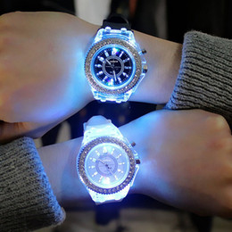 ladies watches rubber straps 2019 - Sports Women Lady Girl Rubber Band Candy Wrist Watch Couple jelly rhinestone Led Night Light Quartz Watch Colorful Strap