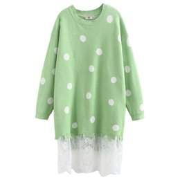 Lace hem sweater woman online shopping - Plus Size Casual Essential Sweaters Autumn Women Fashion Loose Long Sleeve Polka Dot Lace Hem Knitting Pullovers A2
