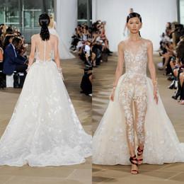 Plus Size Dresses Jumpsuits Australia - Sexy Bohemian 2019 Wedding Dresses Jumpsuits Sheer Neck Lace Appliqued Bridal Gowns Plus Size Boho Wedding Dress With Detachable Train