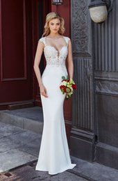 Short White See Through Skirt NZ - Mermaid Scoop Neck Short Sleeves Lace Spandex Wedding Dresses 2019 New Elegant Bridal Gowns with See Through Back